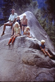 family on the rock